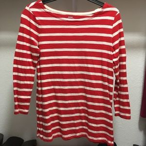Old Navy red and white striped 3/4 sleeve shirt XS
